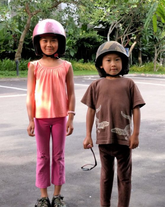 kids with helmets